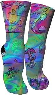 靴下 抗菌防臭 ソックス サイケデリック三重壁紙スポーツスポーツソックス、旅行&フライトソックス、塗装アートファニーソックス30 cmロング靴下