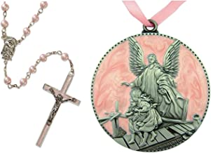 Baptism Gifts for Baby Girl | Set of Pink Rosary and Guardian Angel Crib Medal