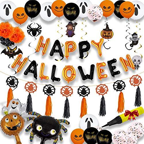 Halloween Ballon Dekoration Set mit 1 aufblasbarer Schlauch, enthalten Kürbis, Geist, Spinne, Hexe, Schwarze Katze, Latexballon, Folienballon, für Halloween Party Dekoration