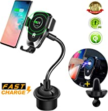 Car Cup Phone Holder&Gravity Air Vent Wireless Car Mount,[10W Qi Fast Charge] Universal Car Charger Compatible for Samsung Galaxy S10e/S10/S9/Note9,iPhone X/XR/XS Max,Huawei P30 Pro,QI-Enabled Phone