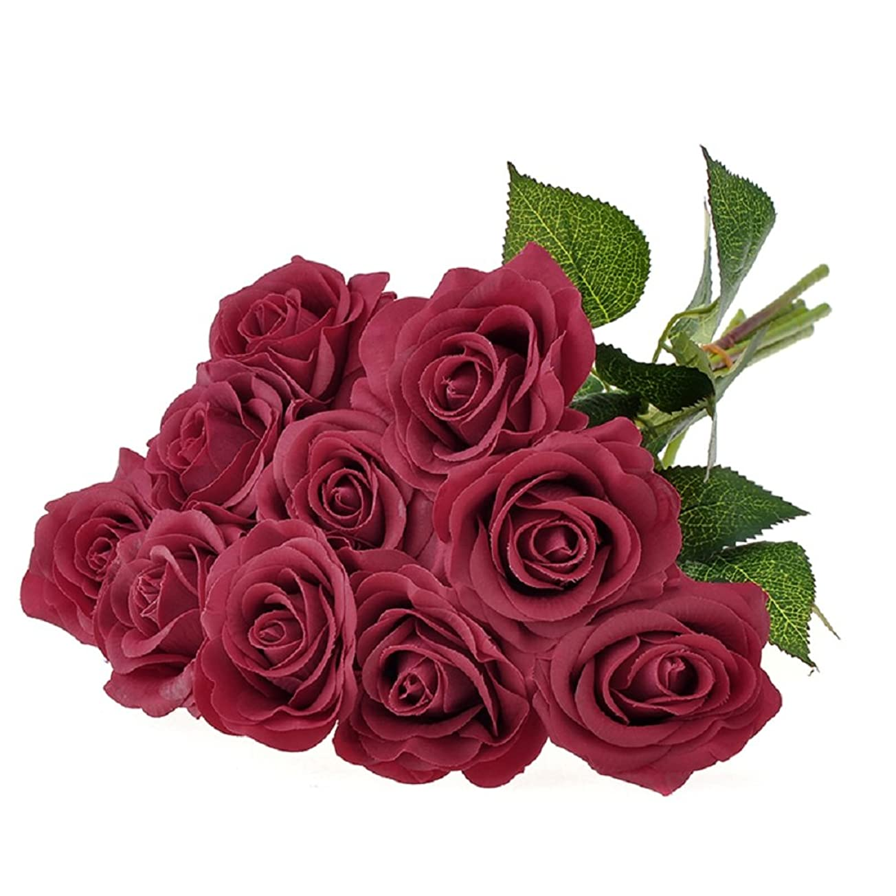 懇願する出力みすぼらしいVenkaite バラ 造花 手作りブーケ 薔薇 フラワーアレンジ かわいい 花束 お祝いの結婚式のパーティーの花 インテリア飾 10本セット (レッド)