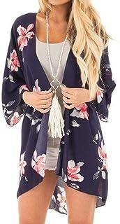 Dubocu Women's Flower Tassels Coat Tops Suit Kimono Cover Beach Smock