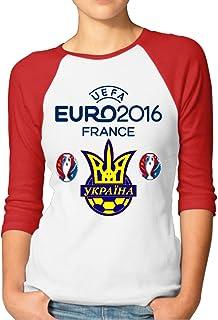 Ukraine Football Euro 2016 Logo Ukraine Logo Pologne Women's Style Raglan Sleeves T-Shirt