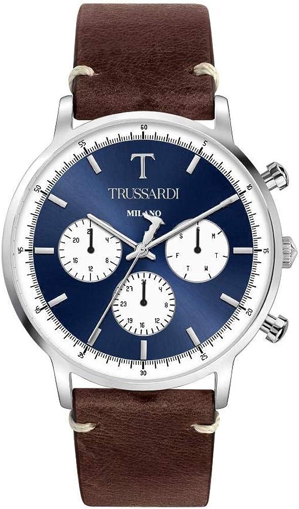 Trussardi orologio,cron ografo per uomo,in acciaio e cinturino in vera pelle R2451135004