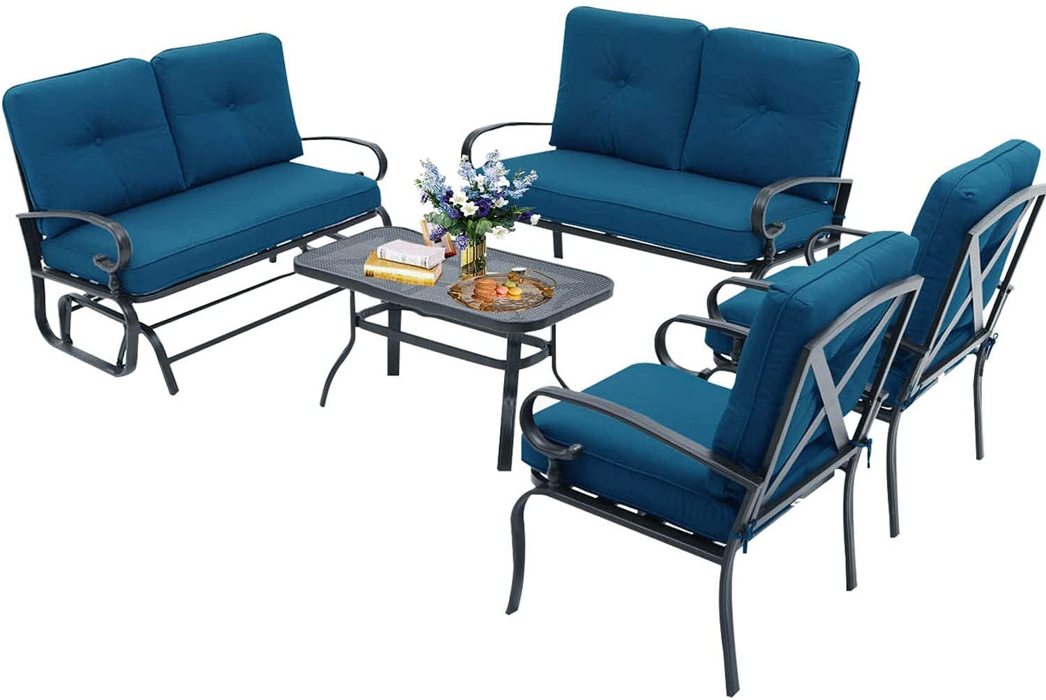 Oakmont 5 Pieces 6 Seats Spring new work one after another Outdoor Furniture Con 100% quality warranty Sets Patio Metal