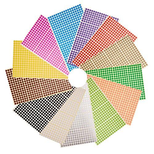 NBEADS 6mm Kleine Runde Dot Aufkleber Selbstklebende Farbe Klebrige Codierung Etiketten Kennzeichnung Etiketten, 28 Blatt (13328 Punkte), Gemischte Farbe, 22,2×12,5 cm