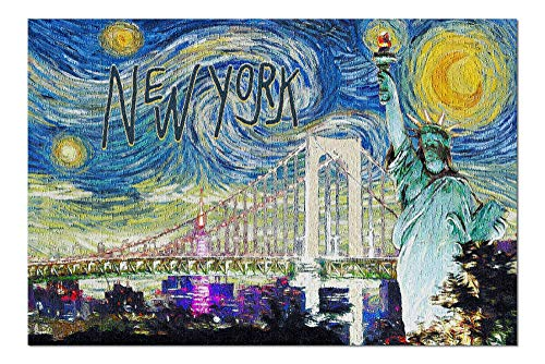 Promini New York - Statue of Liberty - Van Gogh Starry Night - 500 Piece Jigsaw Puzzles for Adults Kids, Puzzles for Toddler Children Learning Educational Puzzles Toys for Girls Boys 15' x 20'