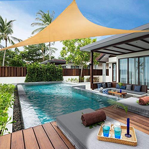 Lehood Sun Shade Sail Triangle 8' x 8' x 8' UV Block Canopy for Patio Backyard Lawn Garden Outdoor Activities,Sand