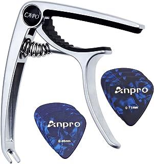 Anpro Cejilla Guitarra para Ukelele, Guitarra Acústica y Eléctrica con 6 Puas de Guitarra- Capo Guitarra con Picks