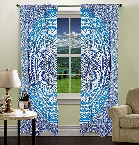 Krati Exports Bohemian Beautiful Ombre Color Mandala Curtain Panels (Blue)