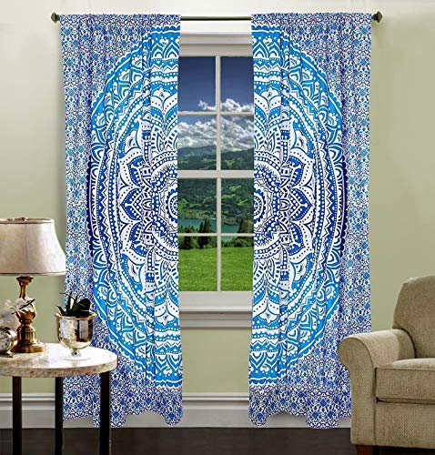 Krati Exports Bohemian Beautiful Ombre Color Mandala Curtain Panels (Blue)