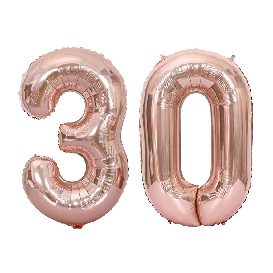 Juland Rose Gold Number 30 Balloons Large Foil Mylar Balloons 40 Inch Giant Jumbo Number Balloons for 30th Birthday Party Decorations