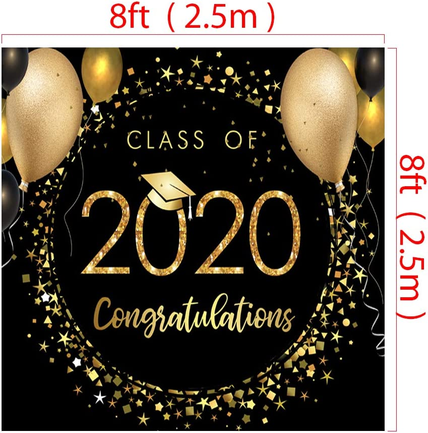 RBQOKJ 7x5ft Class of 2020 Graduation Backdrop Congrats Grad Black Golden Photo Background Bachelor Cap Balloons Decor Shoot Backdrops for Prom Party Photography