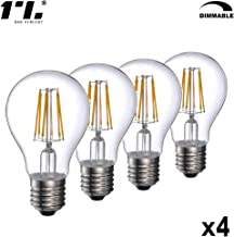 Vintage Edison LED Amber Light Bulb Dimmable Filament Screw Bulb Retro Spiral Old Fashioned Style Suitable for Bars Home Restaurants Cafes E26 Base A21 10W 1100lm 2700K AC120V 60Hz Pack of 4