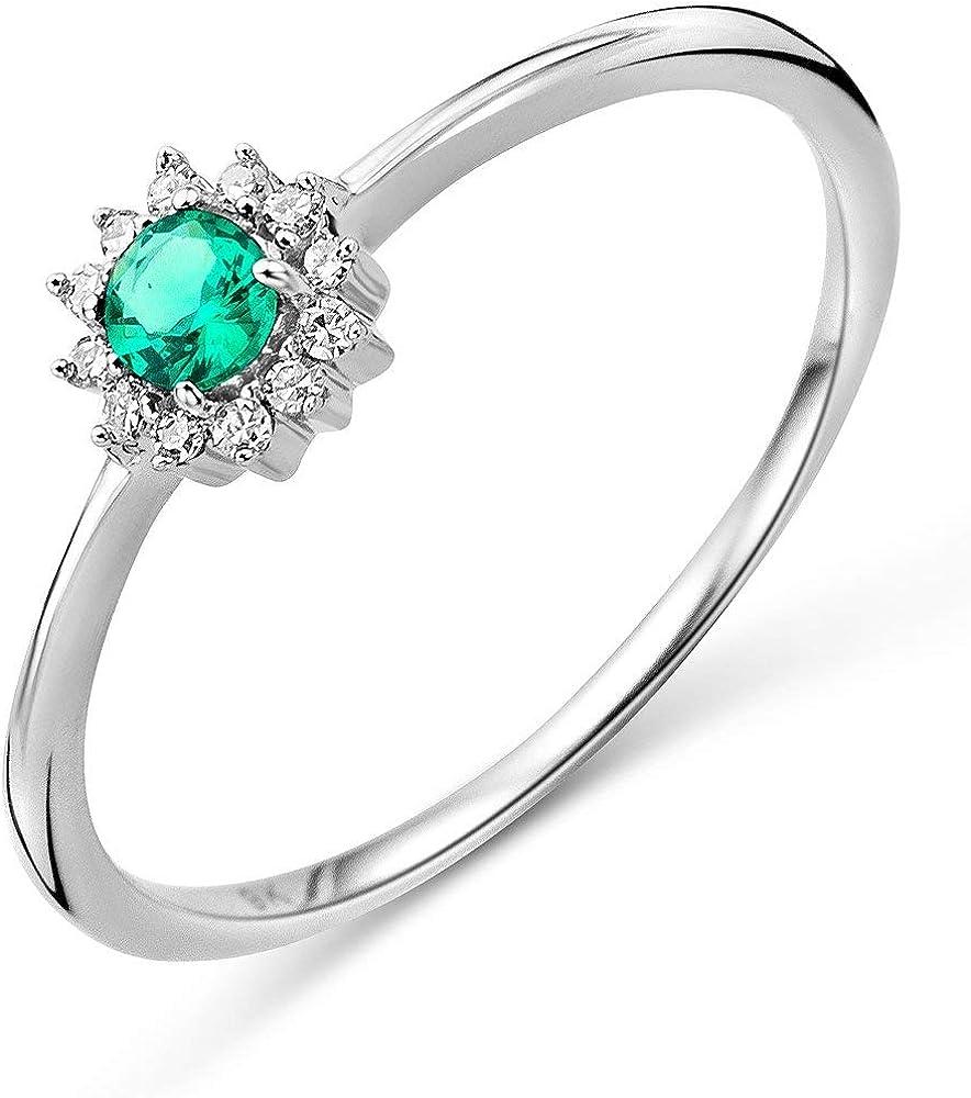 Miore anell per donna in oro bianco 9 kt (375) (1,25 gr) e smeraldo 0,05 ct M9116R4
