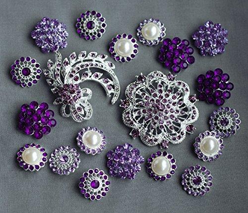 20 Purple Rhinestone Button Brooch Assorted Embellishment Pearl Crystal Bouquet Supply Light Lavender Amethyst Eggplant BT157