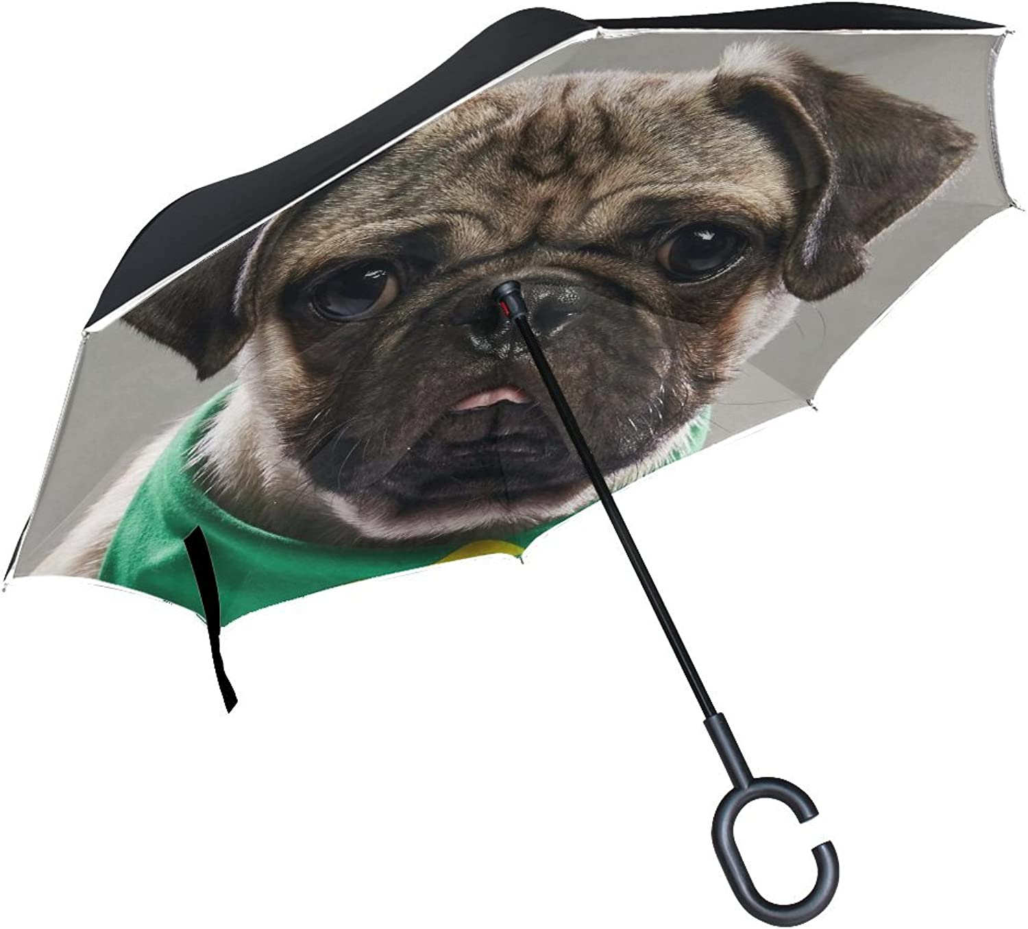 Animal Dog Pug Black Yellow Mix Pet Fluffy Puppy Ingreened Umbrella Large Double Layer Outdoor Rain Sun Car Reversible Umbrella