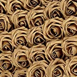 Carreking Artificial Flowers Roses Real Looking 25pcs Gold Fake Roses DIY Wedding Bouquets Shower Party Home Decorations Arrangements Party Home Decorations (25pcs Gold)