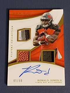 Football NFL 2018 Panini Immaculate Collection Premium Patch Rookie Autographs #12 Ronald Jones II NM Near Mint Jersey Auto 95/99 Buccaneers