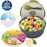 CHAUDER Reusable Salad Container with Dressing Dispenser and Ice Pack