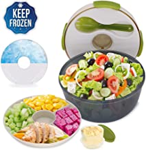CHAUDER Reusable Salad Container To Go for Lunch with Dressing Dispenser and Ice Pack, 5 Cup Large Capacity Mixing Bowl, PVC, BPA-Free, FDA Passed, Perfect for Women, Men, Kids, With Fork