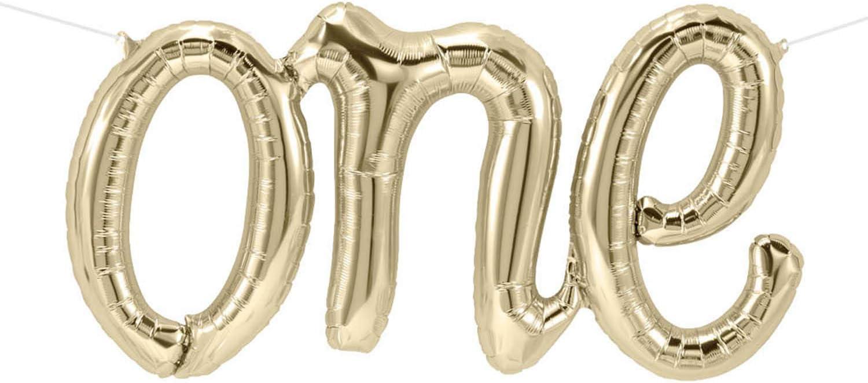 SHENLI One 5% OFF Balloon Banner White Letter 1 year warranty Balloons Gold Script