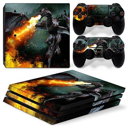 46 North Design Ps4 Pro Playstation 4 Pro Pegatinas De La Consola Dragon Fire + 2 Pegatinas Del Controlador