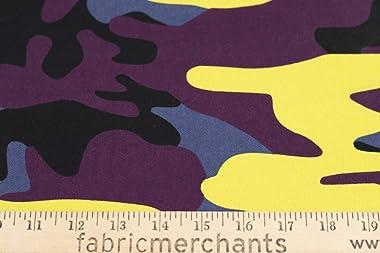 Fabric Merchants Cotton Twill Camouflage Fabric by The Yard, Purple/Yellow 10 Yards