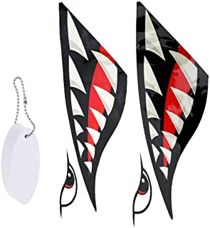 NATFUR 2X Kayak Shark Tooth Decals Stickers + Surfboard Floating Key Chain Elegant Pretty for Women Cute for Men Holder Perfect Elegant Novelty Beautiful Lovely