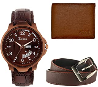 Zesta Combo Set of Analogue Watch, Leather Wallet and Belt for Men
