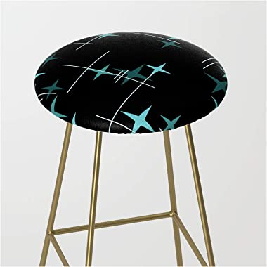 Society6 Mid Century Modern Stars Black Teal by Kay Cordingly on Kitchen Bar Stool - Gold