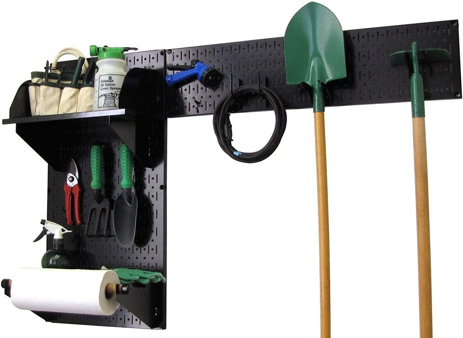 Wall Control Pegboard Garden Supplies Storage and Organization Garden Tool Organizer Kit with Black Pegboard and Black Accessories