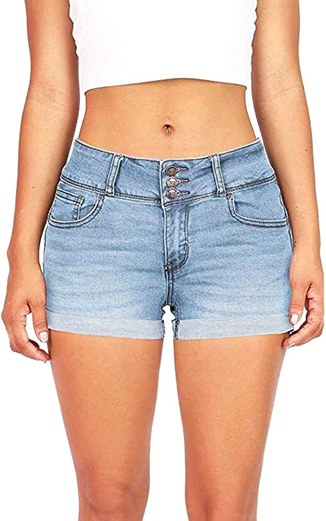 Forthery-Women Summer Casual Low Waist Stretchy Denim Jean Shorts Junior Short Jeans with Pockets