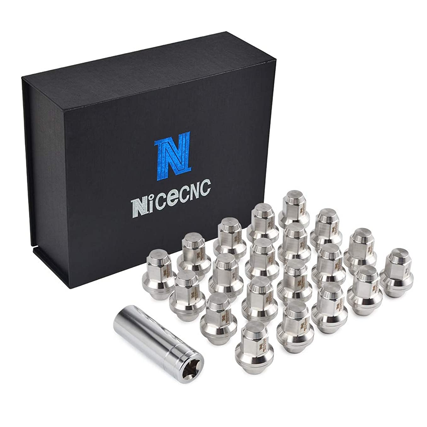 Nicecnc 20PCS 12x1.5MM Through-Hardened T304 Stainless Steel Anti-Rust,Corrosion Wheel Lug Nuts with Washer Closed End & Tool Replace T-oyota L-exus Scion Pontiac Mag Seat Wheels