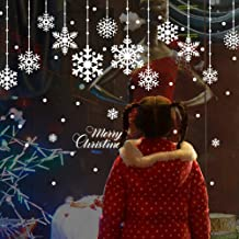 YULOONG Christmas Windows Static Stickers Colorful Clings Removable Vinyl Santa Claus Christmas Tree Snowman Snowflake Dee...