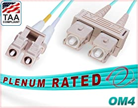 FiberCablesDirect - 3M OM4 LC SC Fiber Patch Cable | Plenum 100Gb Duplex 50/125 LC to SC Multimode Jumper 3 Meter (9.84ft) | Length Options: 1M-300M | Made In USA | ofnp sc-lc mm dup lc/sc mmf dx aqua