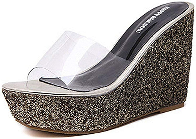 Fashion shoesbox Women Casual High Platform Open Toe Anti-Slip Slip on Wedge Slides Sandal