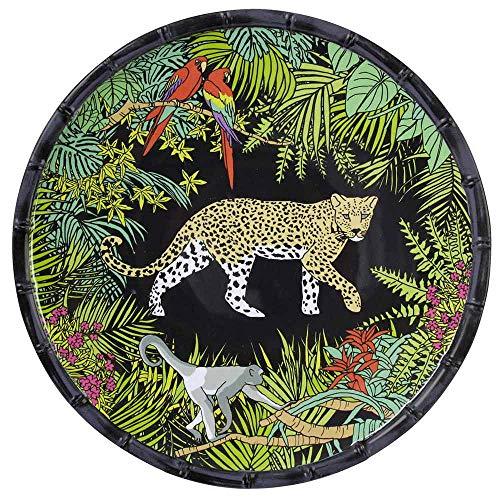 Les Jardins de la Comtesse - Grande Assiette Plate en Mélamine Pure - Contour Bambou - Jungle - Ø 28 cm - Noir/Vert - Service de Table de la Collection de Vaisselle Quasi-Incassable MelARTmine