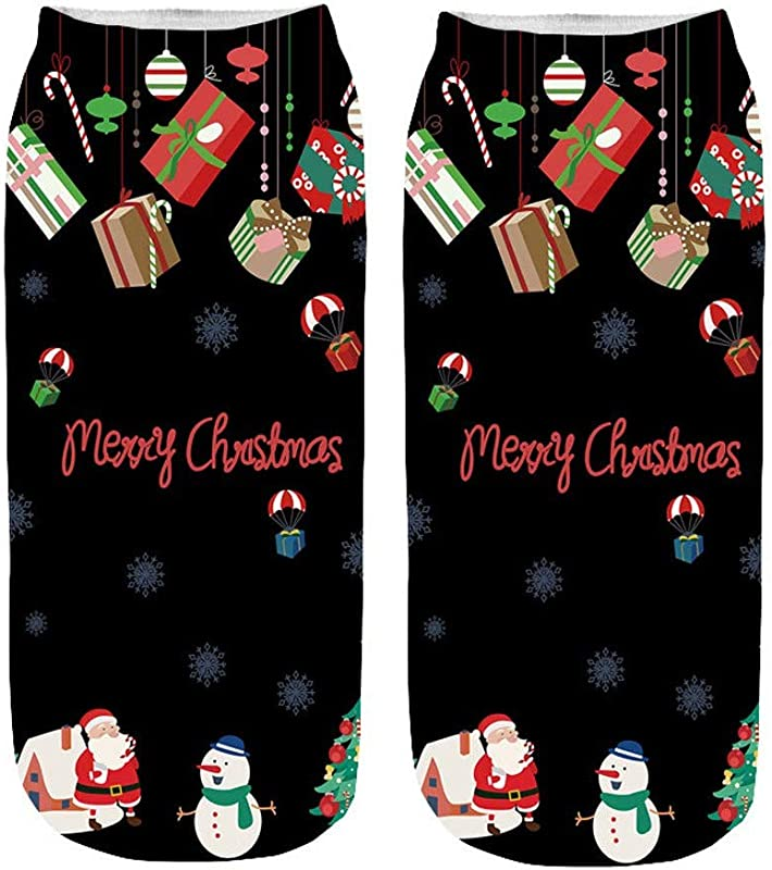 New Cute Socks Annhoo Women S 3D Cartoon Funny Christmas Crazy Cute Amazing Novelty Print Ankle Socks One Size C
