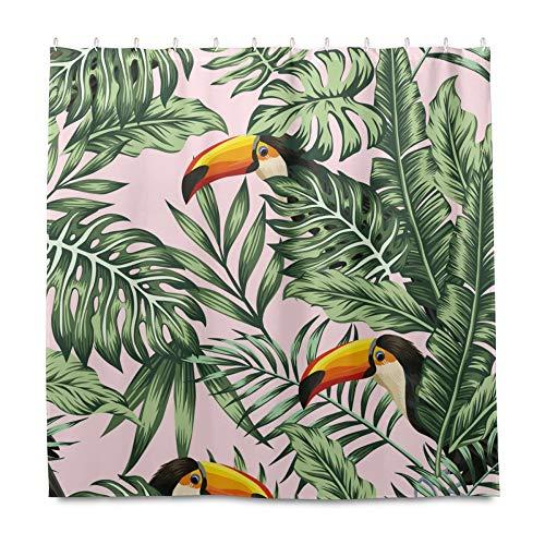 RELEESSS Duschvorhang Tukan Vogel Palmen Blätter Wasserdicht Badezimmer Vorhänge mit Haken 182 x 182 cm