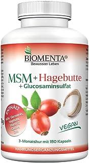 BIOMENTA MSM + Escaramujo | con MSM + Glucosamina + Vitamina C + Calcium + Zinc | 180 vegano Cápsulas | 3 Meses