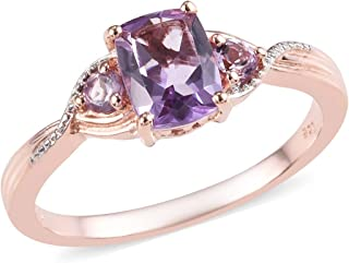 Birthstone Statement Ring for Women 925 Sterling Silver 14K Rose Gold Plated Cushion Pink Amethyst Gift Jewelry Cttw 1.1