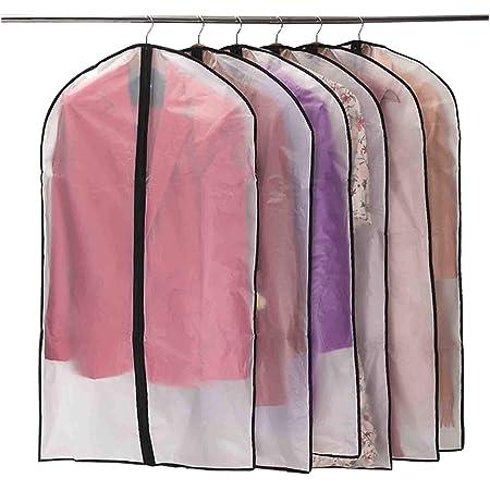 Niviy Housses de Vêtements, Anti Poussière Etanche Mite Humidité,Housses de Protection Zip Semi Transparentes pour Chemise Costumes/Manteaux, 6pcs 60 * 100cm (Noir)