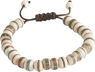 Tibetan Embedded Yak Bone Medicine Wrist Mala Bracelet Meditation Healing Prayer Beads