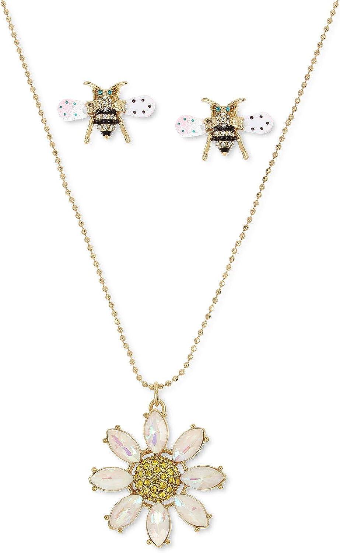 Betsey Johnson Daisy Pendant Necklace & Bee Stud Earrings Set