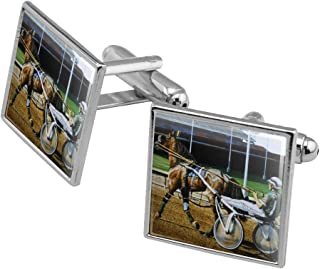 Harness Racing Track Horse Racer Square Cufflink Set - Silver or Gold