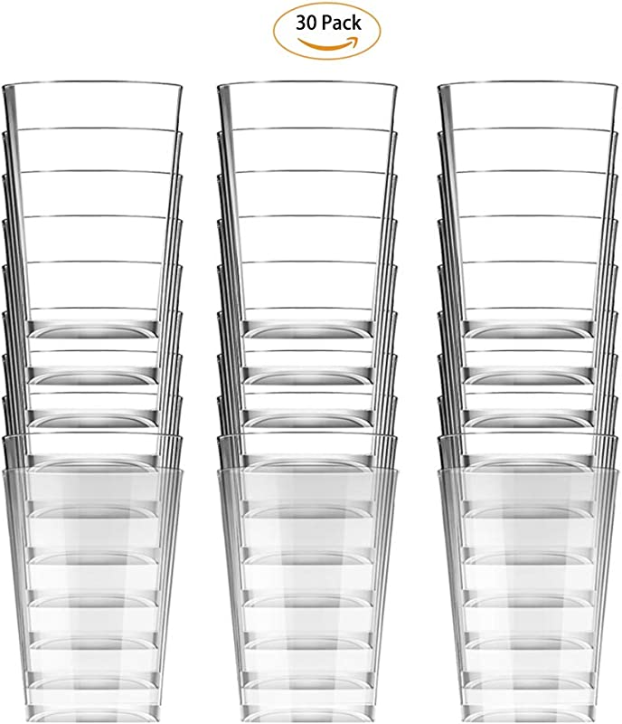 Happy Life Healthy Disposable Cups Crystal Clear Cups High Transparent Water Cup Hot Cold Beverage Drinking Cup For Water Juice Coffee Or Tea Wedding Party 30 Pack
