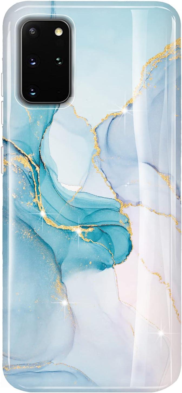 LUOLNH Galaxy S20 Plus Case,Samsung Galaxy S20+ Marble Case,Brilliant Design Shockproof Flexible Soft Silicone Rubber TPU Bumper Cover Skin Case for Samsung Galaxy S20+ /S20 Plus(Cyan-Blue)
