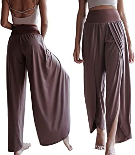 Elegant Yoga Dancing Pants - Womens Hi-Waist High Slit Sexy Soft Comfortable Loose Trousers