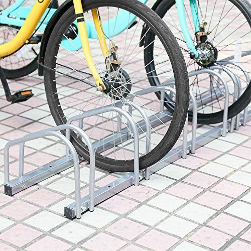 HENGDA  Fahrradständer Für 6 Fahrräder, verzinkter stahl, Boden- und Wandmontage,  Bügelparker Mehrfachständer, LBH: ca. 160 x 32 x 26 cm, Silber